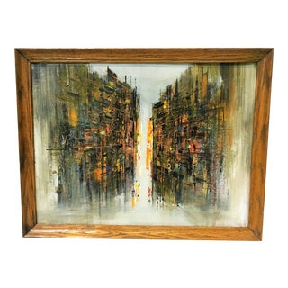 Mid-Century Brutalist Abstract Cityscape Oil Panting