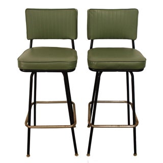 Danish Modern Atomic Swivel Bar Stools - A Pair