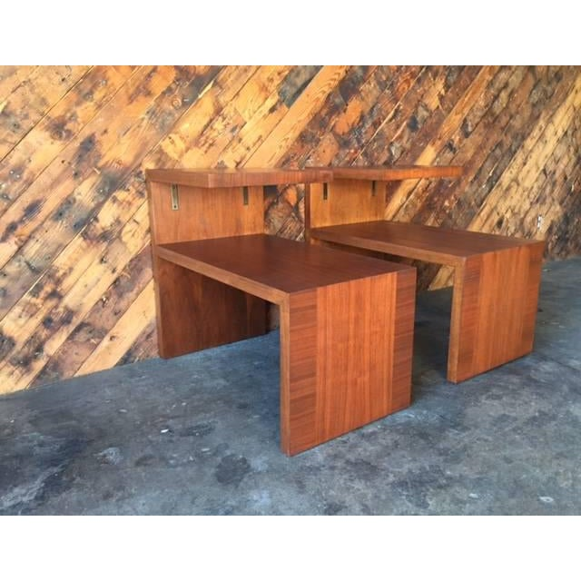 Mid-Century Vintage Walnut Side Tables - A Pair - Image 4 of 8