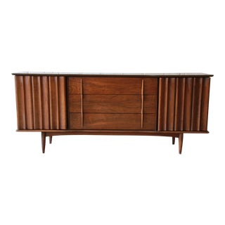 United Furniture Co. Mid-Century Modern Sculpted Walnut Dresser or Credenza