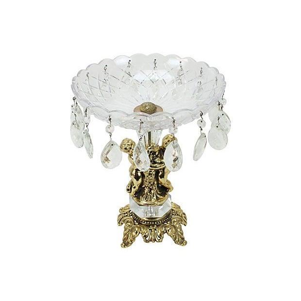 Image of Hollywood Regency Gilt Cherub & Crystal Compote