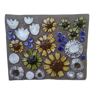 Mid-Century Swedish Ceramic Floral Wall Plaque