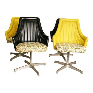 Vintage Yellow Vinyl Dining Chairs - Set of 4