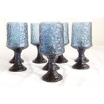 Image of Vintage Lenox Blue Crystal Goblets - Set of 8