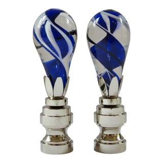 Cobalt Swirl Blown Glass Finials - a Pair