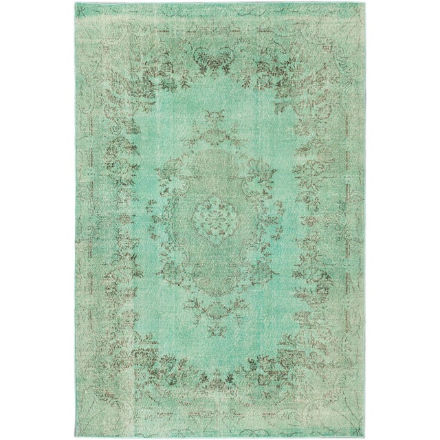 "Green Vintage Turkish Overdyed Rug - 7'0"" X 10'5"" - Image 1 of 2"