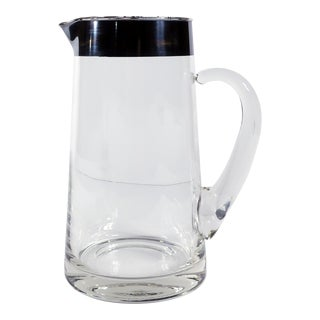 Dorothy Thorpe Silver Rim Glass Pitcher