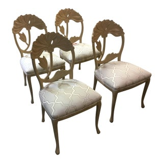 Restored Mid-century Modern Floral Carved Back Set of 4 Chairs