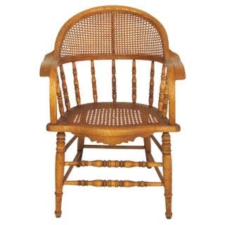 Antique Oak Caned Armchair