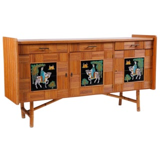 Italian Parquet Bamboo Dresser with Painted Tile Panels