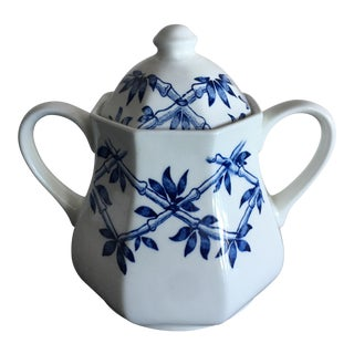 English Blue & White Sugar Bowl
