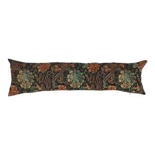 Asian Embroidered Floral Long Lumbar Pillow