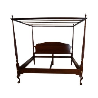 Link Taylor King Size Mahogany Tall Poster Canopy Claw Foot Bed