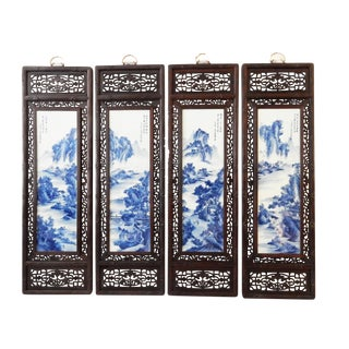 Chinese Blue & White Porcelain Panels - Set of 4
