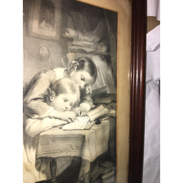 """19th Century """"The Writing Lesson"""" Lithograph - Image 10 of 11"""