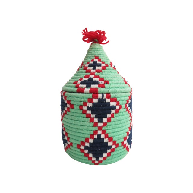 Image of Handwoven Moroccan Green Bread Basket
