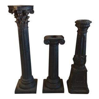 Carved Bougeoir Black Candle Holders