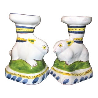 Portugal Rabbit Candle Holders - A Pair