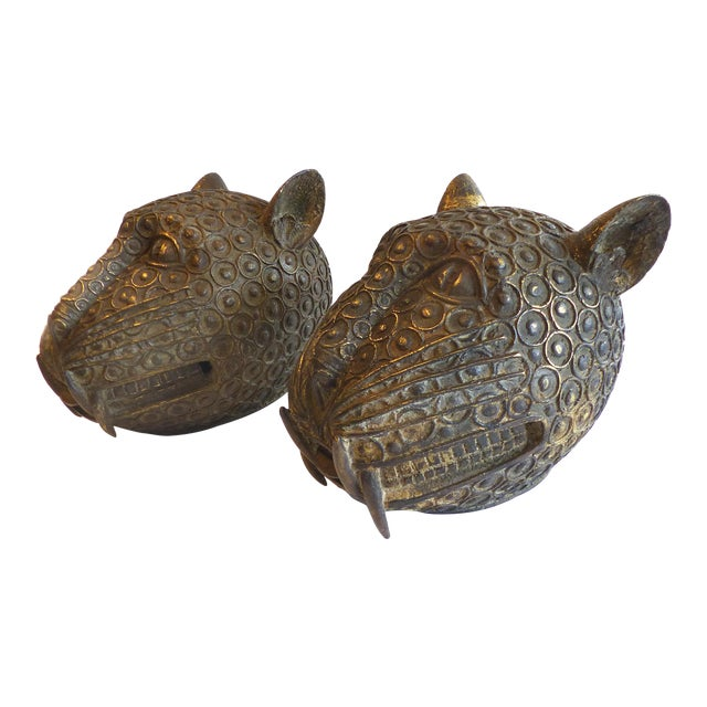 Bronze Leopard Heads From Cameroon - A Pair - Image 1 of 11