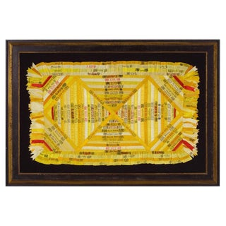 OUTSTANDING CIGAR SILK PIECEWORK SHAM OR TABLE COVER, CIRCA 1880-1910