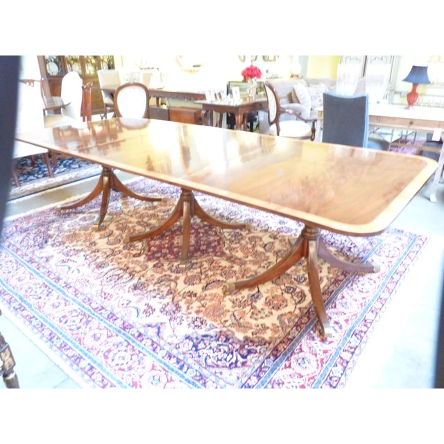 Kittinger Triple Pedestal Mahogany Dining Table - Image 5 of 5