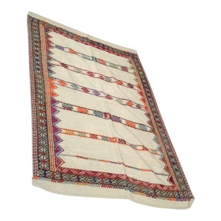 Anatolian Embroidered Kilim Rug - 3′9″ × 5′8″
