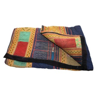 Orange & Multi Stripe Hmong Blanket