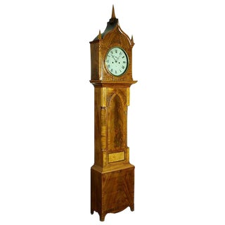 Gothic Mahogany Burl & Rosewood Tall Case Clock