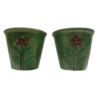 Yellowware Pottery Floral Cachepots - Pair