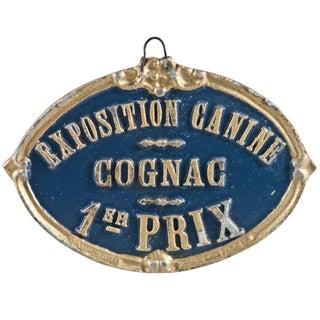 Blue Vintage French Canine Cognac Award Plaque
