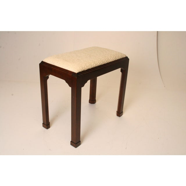 Vintage Chippendale White Upholstered Vanity Stool Chairish