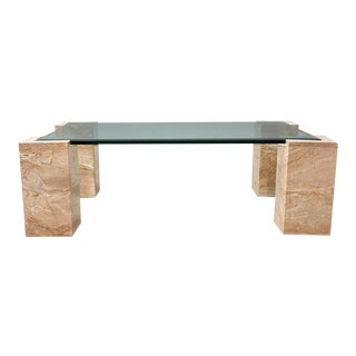 Minimalist Italian Pink Travertine and Glass Coffee Table, 1970s