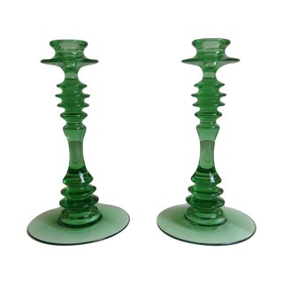 Green Depression Glass Candle Holders - A Pair