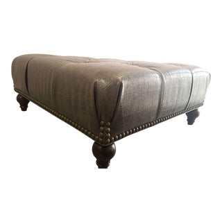 Gray Faux Croc Cocktail Ottoman