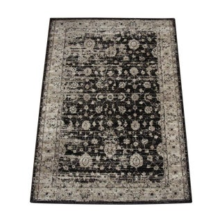 Antiqued Modern Brown Rug - 6′7″ × 9′8″