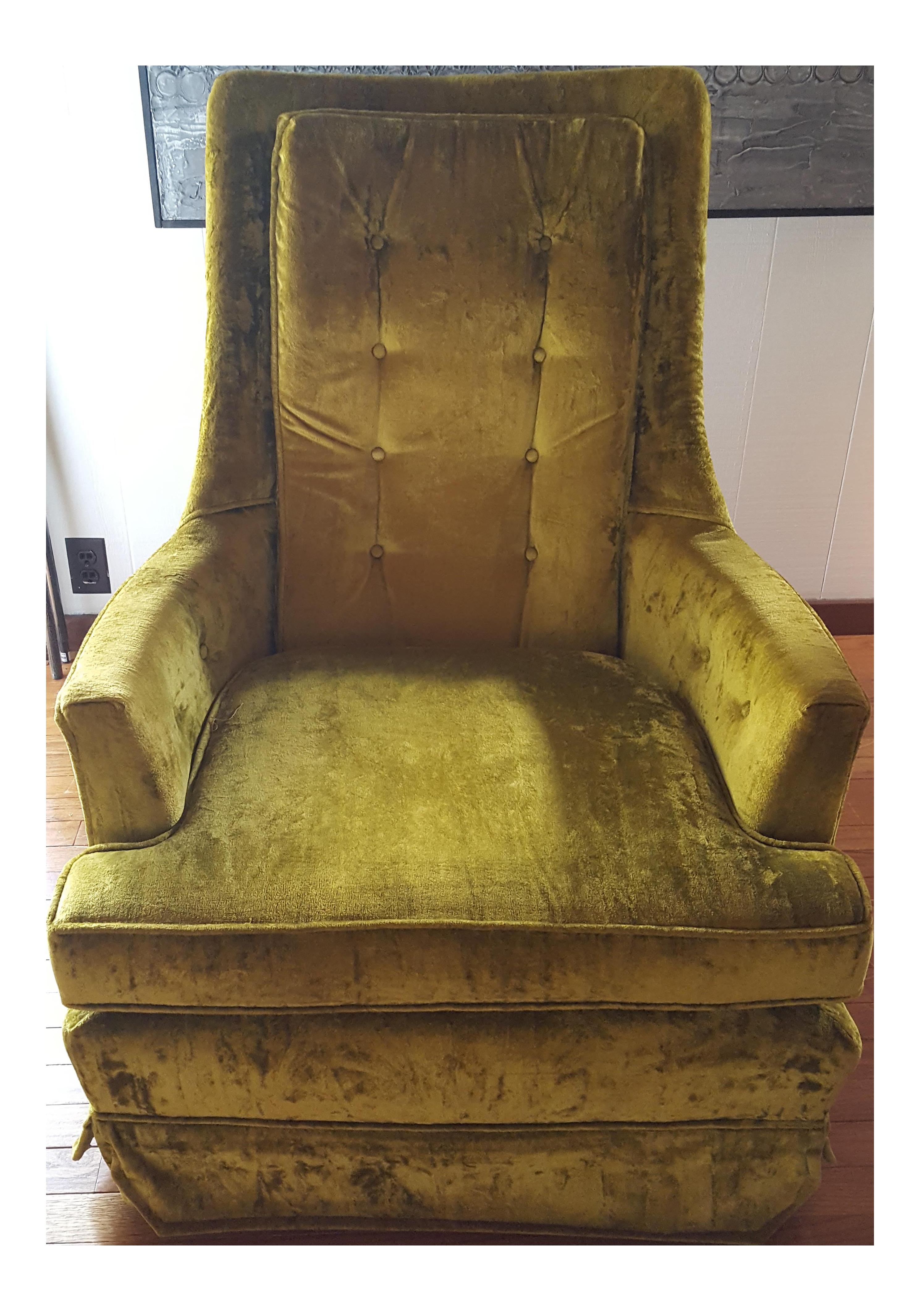 vintage midcentury green velvet swivel chair