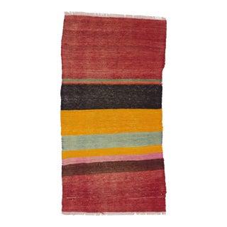 Red, Black, Yellow Striped Kilim Rug - 1′9″ × 3′4″