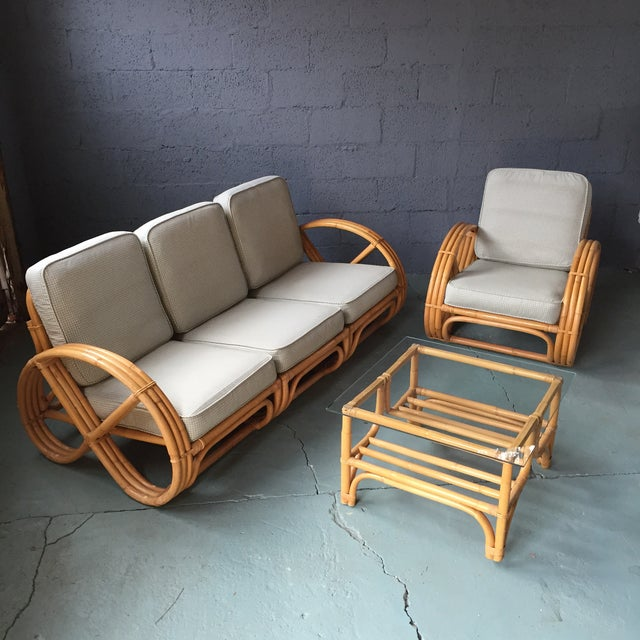 Pretzel Arm Rattan Bamboo Sofa - Set of 3 - Image 3 of 11