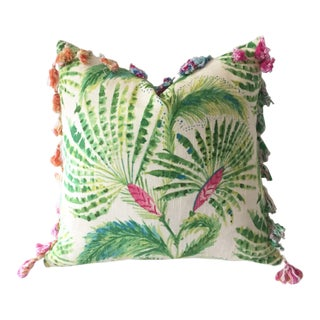 Miami Palms Tropical Linen Pillow Cover