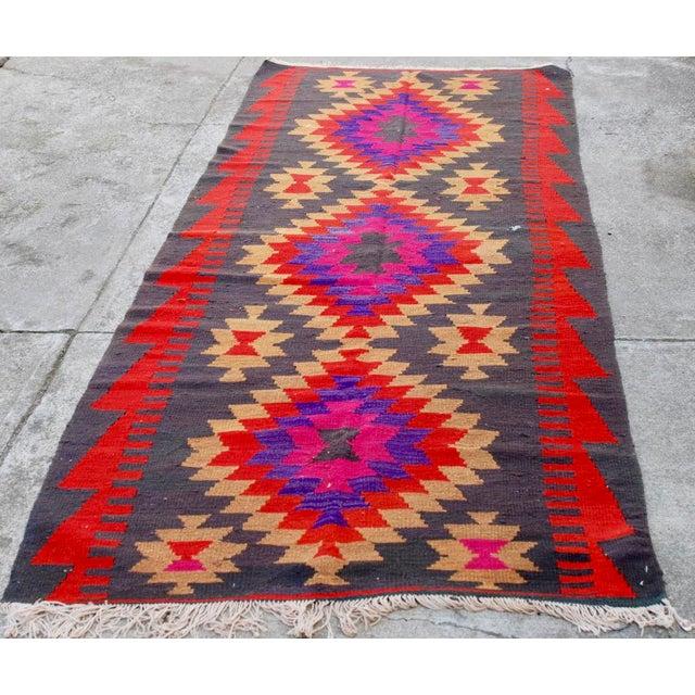 Vintage Handmade Persian Pink Kilim Rug - 3'10'' X 9'7 - Image 5 of 5