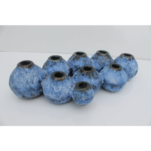 Mid-Century Studio Pottery Blue Fat Lava Vase - Image 2 of 8