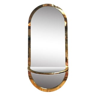 Pace Brass Mirror With Floating Shelf