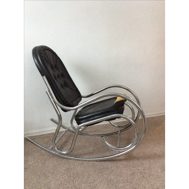 Image of Baughman Style Chrome Rockng Chair
