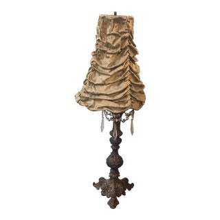 Vintage Brass & Crystal Table Lamp