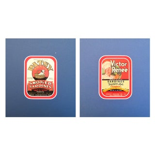 1930s Vintage Puppy/Chef Sardine Labels - A Pair