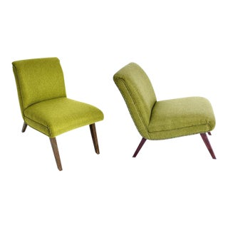 Green Mid-Century Slipper Chairs - A Pair