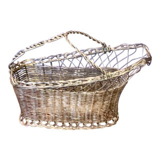 French Silver Wire Wine Serving Basket