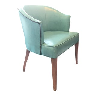 Mid-Century Teal Barrel Chair