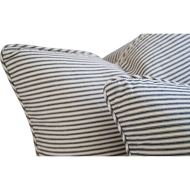 French Blue & White Ticking Pillows - A Pair - Image 4 of 7