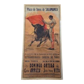 Vintage 1946 Spanish Bullfighting Poster